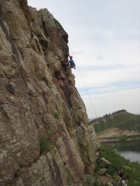 Rock Climbing Photo: This line goes right up the roof with excellent mo...