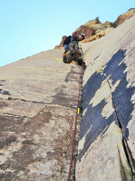 The first good stance, leading up the second section of Pitch 2.
