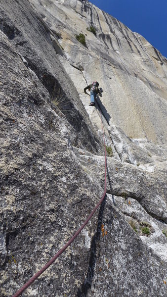 Rock Climbing Photo: Mike climbs pitch 12