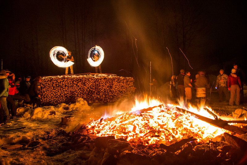 Rock Climbing Photo: Spinning a little fire at the Ice Fest