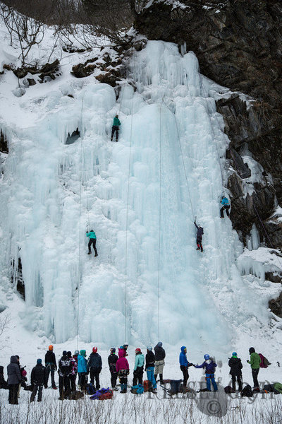 SheJumps put on an amazing Ladies Ice Climbing Clinic, great job Emily!