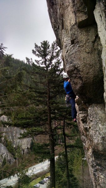 Climbing past bolts into gear