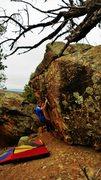 Rock Climbing Photo: Start beta of The Wind Cries Scary.