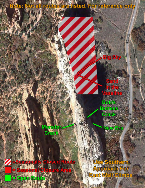 Rock Climbing Photo: Map of closure for Grey Rock at GoG.