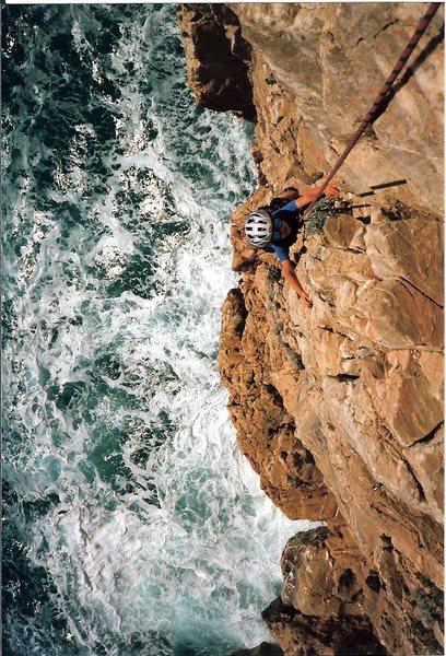 Looking down at the climb