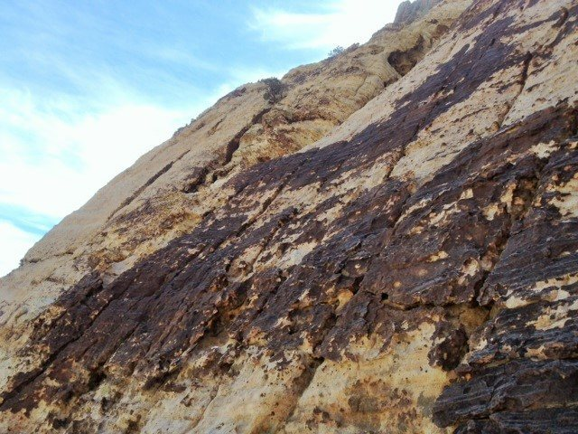 The ledge to the left of the frame is the intended pitch 2 belay station.  We belayed from the middle of the slab.