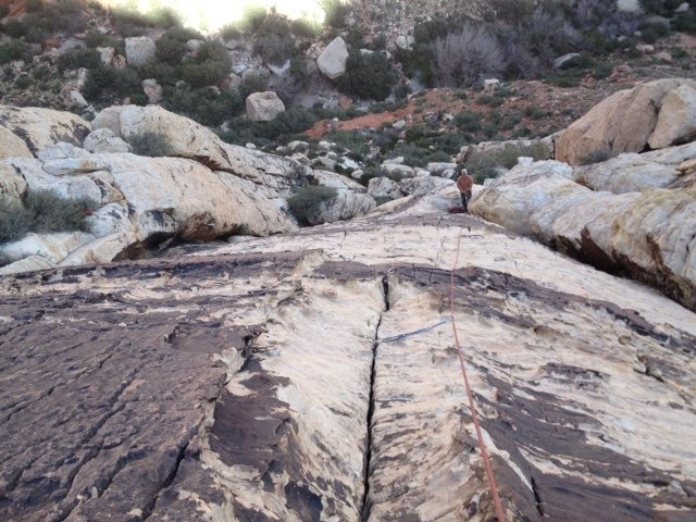 Looking down on Pitch 3. Great protection and fun climbing.