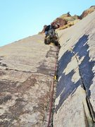 Rock Climbing Photo: At the first stance of the layback section of pitc...