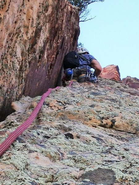 Rock Climbing Photo: Above the Chimney on the 4th pitch of Dodgeball.