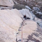 Rock Climbing Photo: Looking down the layback pitch of Dodgeball.  My g...