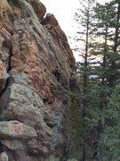 Rock Climbing Photo: Tony B. at mid-route just above the big huecos (bu...