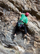 Rock Climbing Photo: Deb at the start, perhaps the crux for a shorter c...