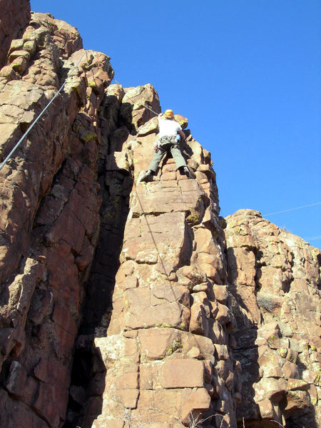 Rock Climbing Photo: At the top of the lower face, before joining Isle ...