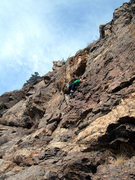 Rock Climbing Photo: Deb ascends P1.