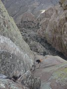 Rock Climbing Photo: Victor approaching the top of the second pitch and...