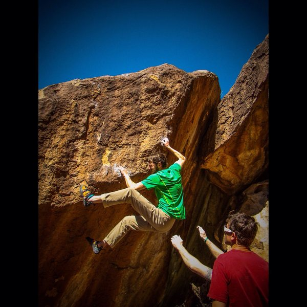 Rock Climbing Photo: Putting in some work in the Tanks.  2015 Photo by ...