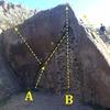 Honeycomb Boulder:<br> A) De-railed V6<br> B) Honeycomb V3<br> C) Slab Arete VO<br> D) Undercling King V3
