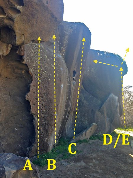 Rock Climbing Photo: Pinch Arete Area: A) Dimples V1 B) Snakebite V3 C)...
