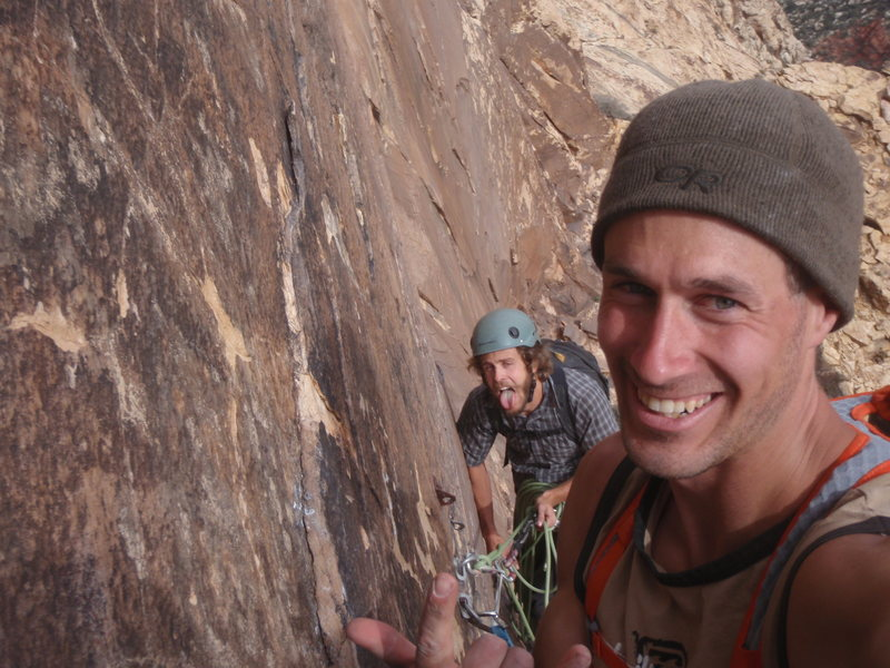 One more pitch down and a few more to go till the top of Levetation 29, Red Rock. Nice climbing Danny Man!