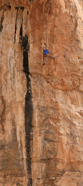 The reachy crux when the big block <br> was still there! - 99 Problems <br> But a Pinch Ain't One (5.13c)