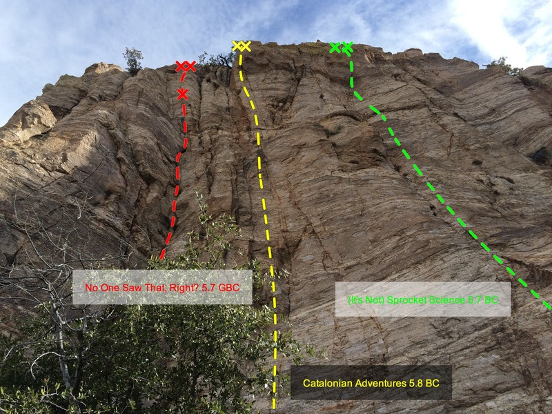 Main Section of the One Day Wall.  Tradical Mystery Tour is in crack system to the right of photo.  Day of Drilling Dangerously follows the arete at the very left of the photo.