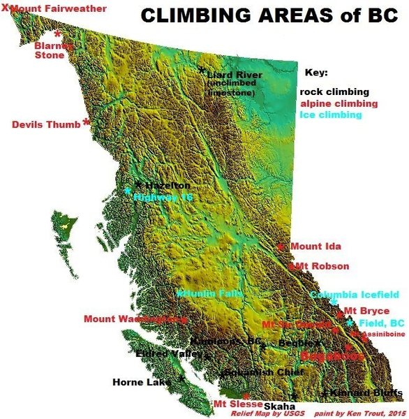 The climbing beta on this map is a mile wide and an inch deep.  Please use the site search function and map names to get more.