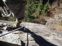 Rock Climbing Photo: looking down from the P1 chains of Endless Bliss