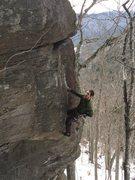 Rock Climbing Photo: Lee jamming the flake crack