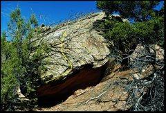 Rock Climbing Photo: Main Street Bench problem beta.