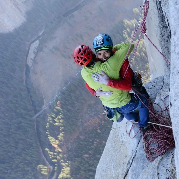 Rock Climbing Photo: Jorgeson and Caldwell reach the top of the Dawn Wa...