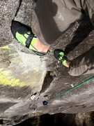 Rock Climbing Photo: looking down after pulling the laybacks above the ...