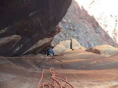 Rock Climbing Photo: Steve enjoying finger crack before the squeeze on ...