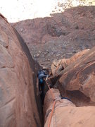 Rock Climbing Photo: Steve pulling through the wide section into the fi...