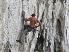 Rock Climbing Photo: Dan Petty getting ready to clip on Cold Woman, War...