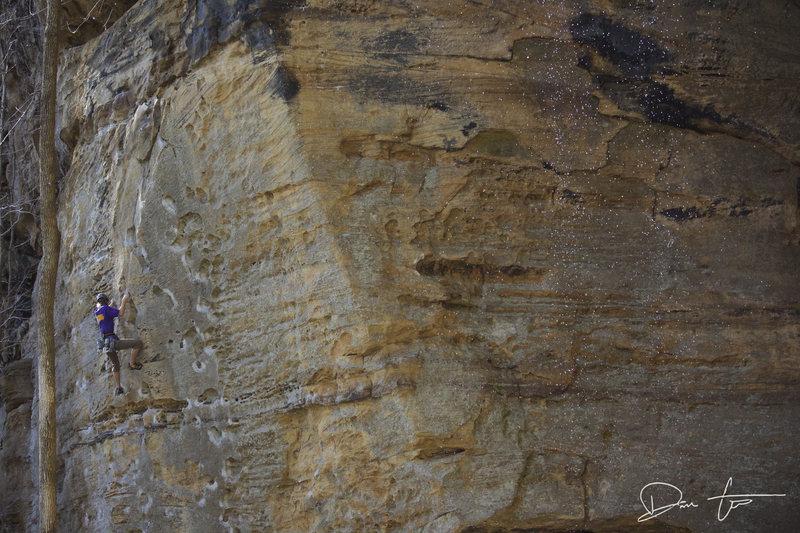 Rock Climbing Photo: Patrick getting work done on Oompa.