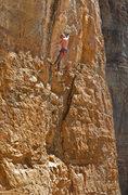 Rock Climbing Photo: Ed Strang starting the powerful  crux down low dur...