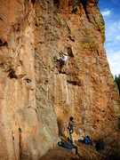 Rock Climbing Photo: Lee pulling through the lower crux. March 2015.