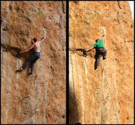 Rock Climbing Photo: Jeffrey and Mike demonstrating the big span crux. ...