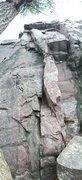Rock Climbing Photo: Climb arête to roof crack. Sparse gear until arê...