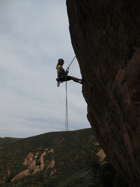 Rappelling off the Pangea Wall.