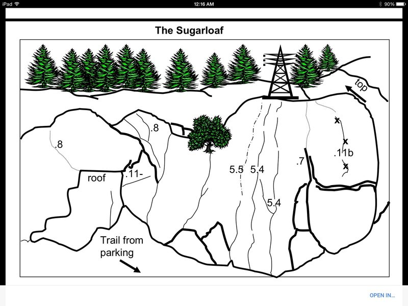 This is a  Beta photo of the routes at sugarloaf.