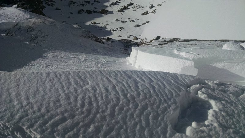 Small slab slide just above penultimate bulge on Black Lake Slabs, 2015-03-14.