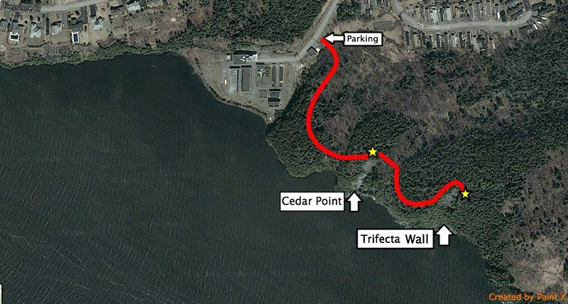 Map to Trifecta Cove