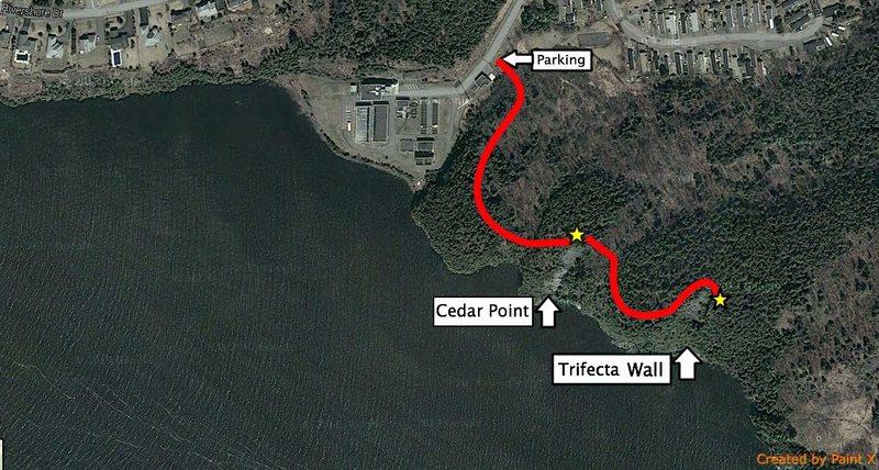 Rock Climbing Photo: Map to Trifecta Cove