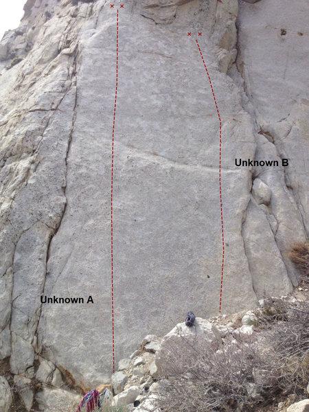 Rock Climbing Photo: Unknown B, 5.9+, PSOM slab, Pine Creek,CA