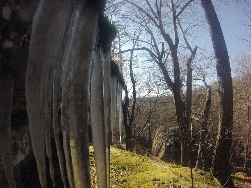 Rock Climbing Photo: Cool small ice formations at Jackson Falls