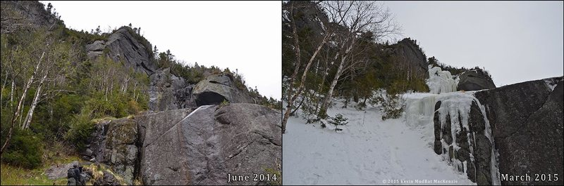 Summer & winter comparison of route from below.