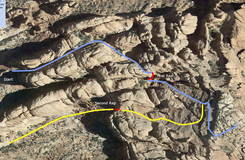 A google-eye view of the route.  The biggest route finding issues are spotting the right turn to go up to the second basin and, on descent, traversing under the small vertical wall until past the obvious gash before heading down.
