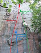 Rock Climbing Photo: Borrowed Rhoads' photo of Remo and drew some lines...