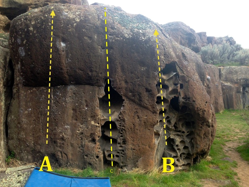 Pocket Warm-Up Boulder:<br> A) Shallow Pocket Warmup V2/3<br> C) Shallow Pocket Right V2<br> B) Hueco Slugfest V1